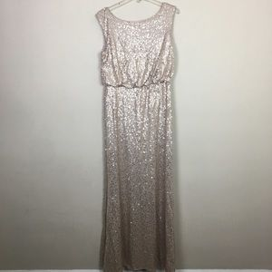 David's bridal Champagne gold sequin evening dress